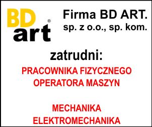 BD ART zatrudni PRACOWNIK FIZYCZNY – OPERATOR MASZYN