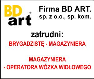 BD ART zatrudni Brygadzista - operator maszyn