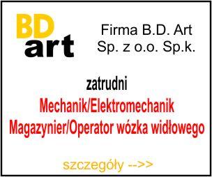 BD-ART - Mechanik/Elektromechanik Magazynier/Operator wózka widłowego