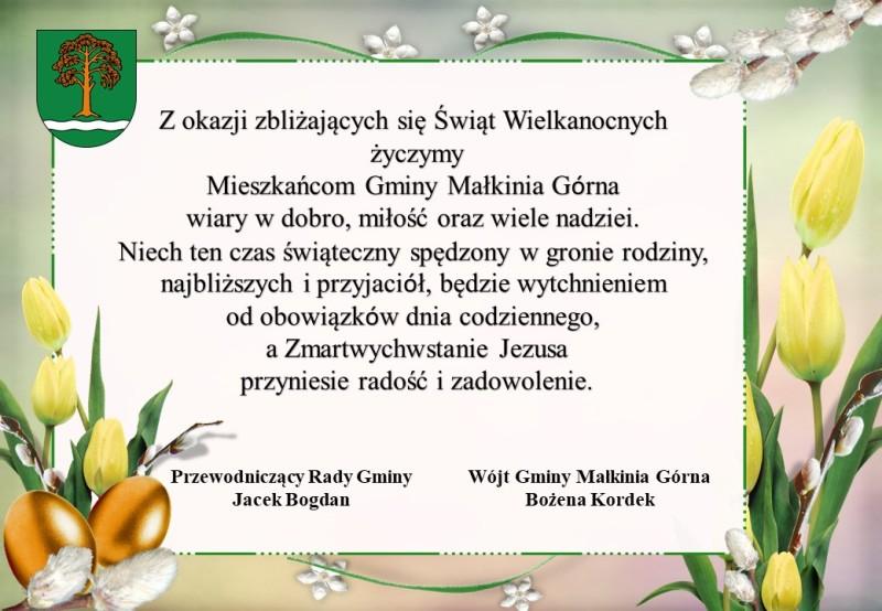 Życzenia BN 2017 - Urząd Gminy Małkinia